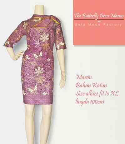 Foto: Batik Dress Butterfly Season Maron