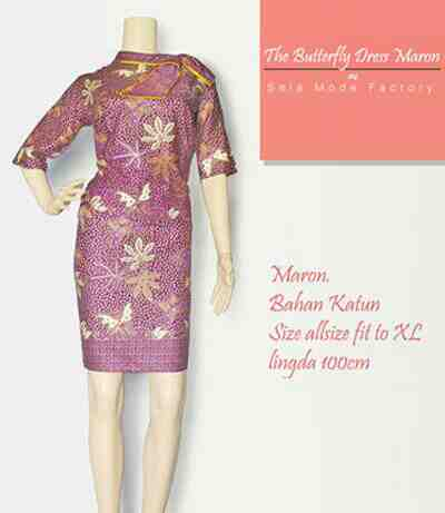 Foto: Batik Dress Butterfly Season Maron