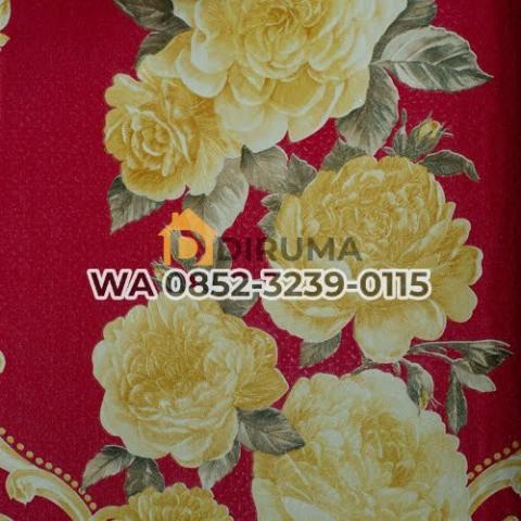 Foto: Wallpaper dinding Bunga Gold Merah LRZ 400-2